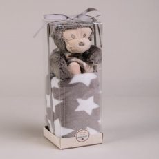 NATURTEX Szürke gyermekpléd plüss majommal (dobozban)