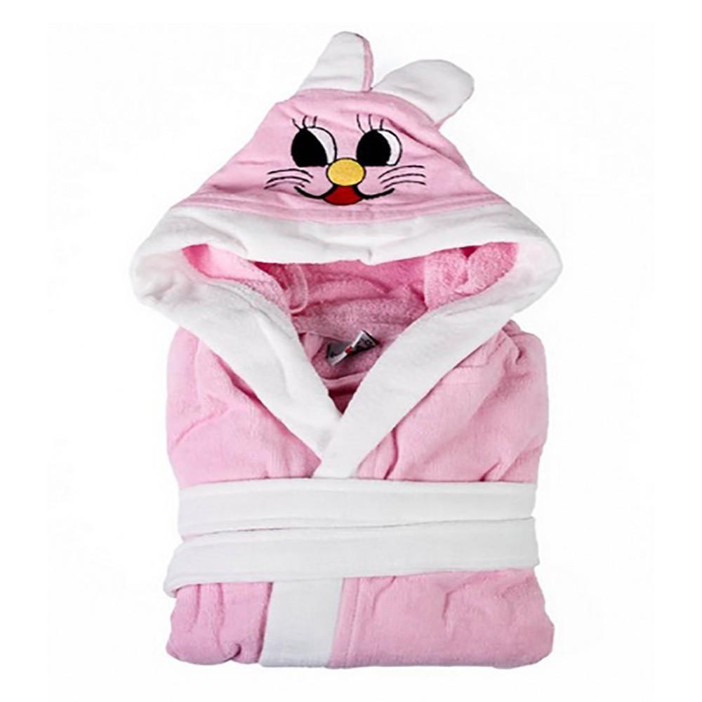 Kapucnis - nyuszifüles gyerek köntös - rózsaszín - Cotton Home 61e187cd2a
