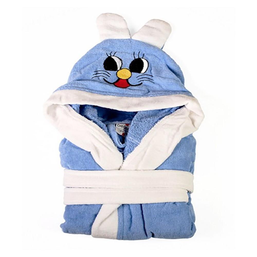 Kapucnis - nyuszifüles gyerek köntös - kék - Cotton Home c0e522afba