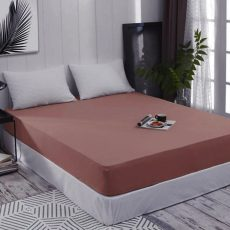 ELY Gumis jersey lepedő - terracotta- 160 x 200 cm