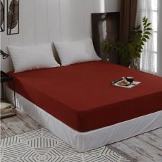 ELY Gumis jersey lepedő - meggy piros - 180 x 200 cm