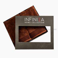 INFINIZA törölköző szett - barna, széles bordűrrel - DÍSZDOBOZBAN