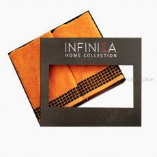 INFINIZA törölköző szett - narancssárga,  széles bordűrrel - DÍSZDOBOZBAN