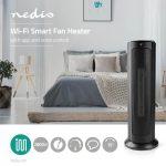 Nedis Intelligens Wi-Fi-s Torony Fűtőventilátor   Hőfokszabályozó   1200 és 2000 W   Fekete
